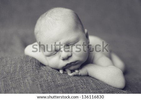 Monochrome newborn - stock photo