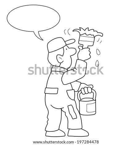 Monochrome outline cartoon painter with speech bubble for own text isolated on white background