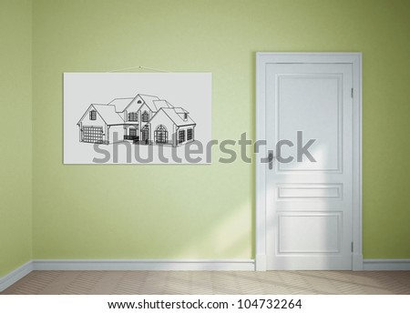 monochrome painting on the wall in the room - stock photo