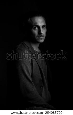 monochrome portrait - stock photo