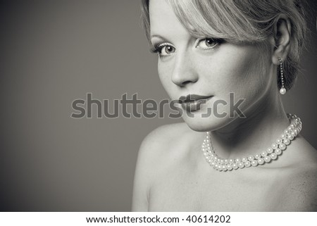 Monochrome portrait of a beautiful woman