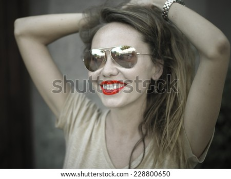 Monochrome Portrait of Young Beautiful Woman with Red Lips