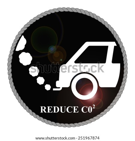 Monochrome Reduce Carbon with lens flare isolated on white background  - stock photo