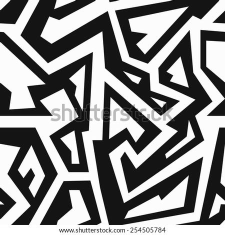 monochrome retro geometric seamless pattern (raster version) - stock photo