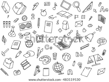 Monochrome school children background. Image of the many icons on the topic of education. Science and education areas paper stickers set illustration.
