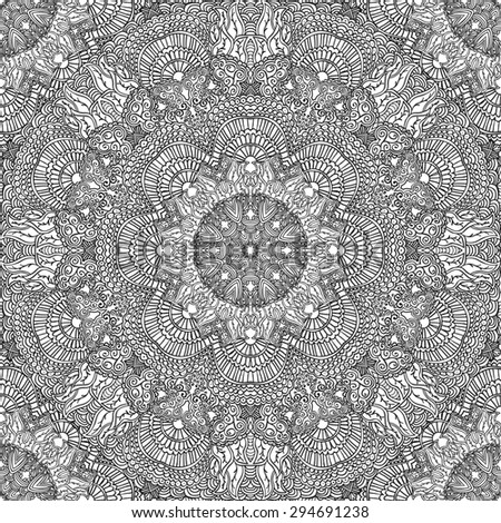 Monochrome seamless pattern in ethnic style. Hand drawn black  doodle ornament on a white background. Rasterized version. - stock photo