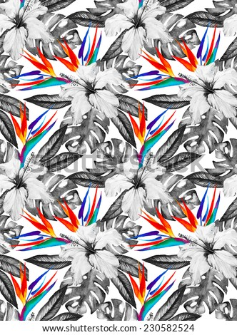 Monochrome tropic floral seamless pattern with hibiscus, bird of paradise, palm and monstera leaves - stock photo