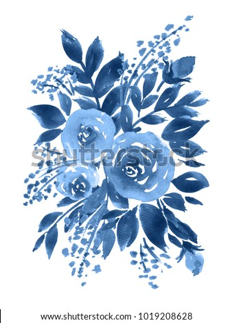 Monochrome watercolor bouquet of roses. Hand painted floral composition in indigo blue
