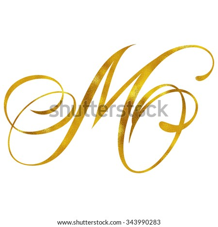 Monogram M Gold Faux Foil Monograms Metallic Initials Isolated White Background