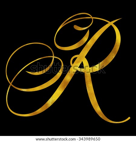 Monogram R Gold Faux Foil Monograms Metallic Initials Isolated White Background - stock photo