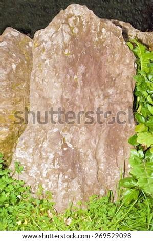 monolith blank surface  - illustration based on own photo image - stock photo