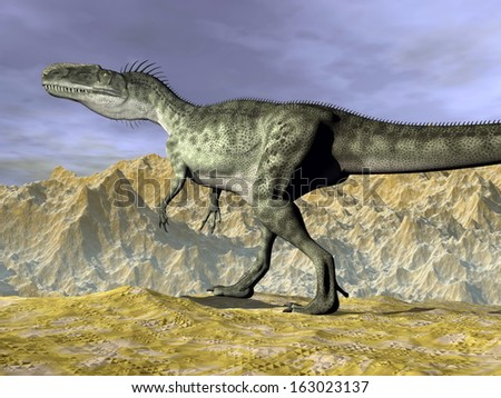 Monolophosaurus dinosaur walking on rocks in the desert near mountain by cloudy day