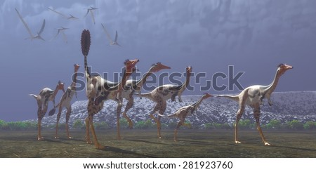 Mononykus Dinosaurs - Mononykus was a carnivorous dinosaur that lived in Mongolia in the Cretaceous Period. Here a flock of Pteranodons follow a group of Mononykus waiting for them to catch prey. - stock photo