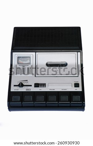 monophonic portable cassette recorder - stock photo