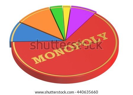 Monopoly concept with Pie Chart, 3D rendering isolated on white background - stock photo