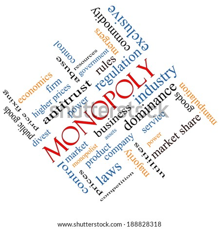 Monopoly Word Cloud Concept angled with great terms such as business, industry, dominance and more. - stock photo
