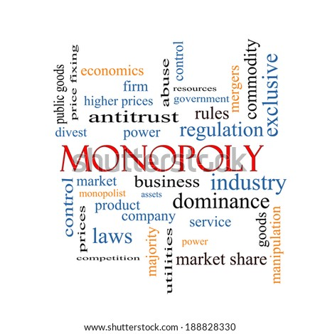 Monopoly Word Cloud Concept with great terms such as business, industry, dominance and more. - stock photo