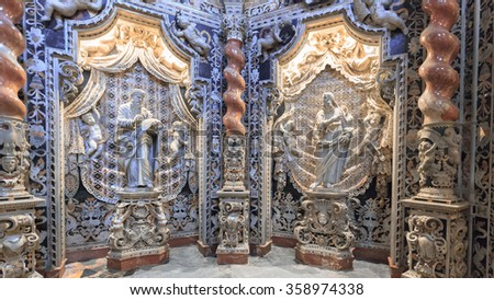 MONREALE, ITALY - JANUARY 05 2016: Interior Cathedral of Monreale. Travel and Tourist Destination. Christian Catholic Medieval Architecture