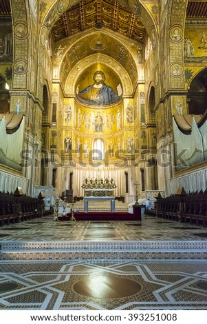 Monreale, Palermo Italy - April 13 2015 Interior of the cathedral Santa Maria Nuova of Monreale on April 13 2015 in Monreale near Palermo in Sicily, Italy