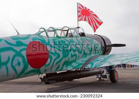 MONROE, NC - NOVEMBER 8, 2014:  An Aircraft that will Reenact the Japanese Attack on Pearl Harbor on display during Warbirds Over Monroe Air Show in Monroe, NC.