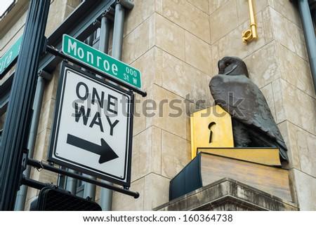 Monroe street in downtown Jacksonville, Florida. - stock photo