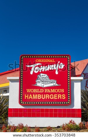 MONROVIA, CA/USA - NOVEMBER 22, 2015: Original Tommy's restaurant exterior and sign. Tommy's is a hamburger restaurant chain in Southern California.
