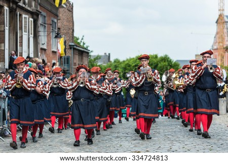 MONS, BELGIUM - JUNE 15, 2014: Waltrudeâ??s Shrine Procession within The Ducasse de Mons (Doudou) celebrations, recognized as one of the Masterpieces of the Oral and Intangible Heritage of Humanity.