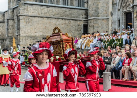MONS, BELGIUM - JUNE 15, 2014: Waltrude Shrine Procession within The Ducasse de Mons (Doudou) celebrations, recognized as one of the Masterpieces of the Oral and Intangible Heritage of Humanity.