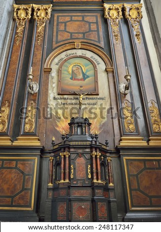 MONS, BELGIUM-OCTOBER 10, 2014: Our Lady of Grace chapel in interior of Saint Elisabeth church. The history of the church on this place started in 1516