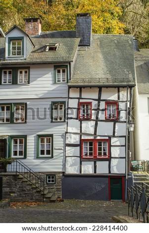 Monschau Eifel as Old Town in the autumn - stock photo