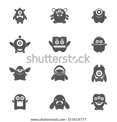 Monster characters group of mutant emoticons black icons set isolated  illustration
