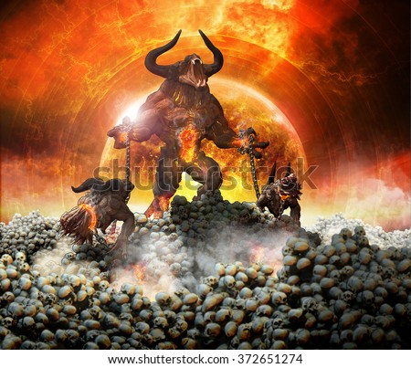 Monster Demon holding onto two hellhounds in a field of skulls. - stock photo