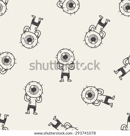 monster doodle seamless pattern background