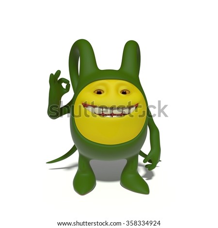 Monster gesturing OK - stock photo