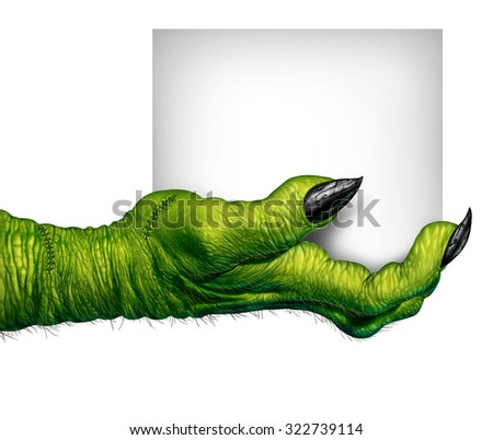 Monster hand holding a sign as zombie fingers with  blank card as a creepy halloween or scary symbol with textured green skin wrinkled scary fingers and stitches isolated on a white background