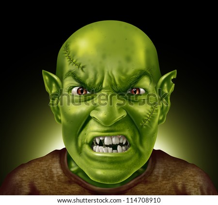 Monster head with green skin rotten teeth and stitches with an angry expression showing pointy ugly tooth and goblin evil ears on a glowing black background as a symbol of being in a bad mood.