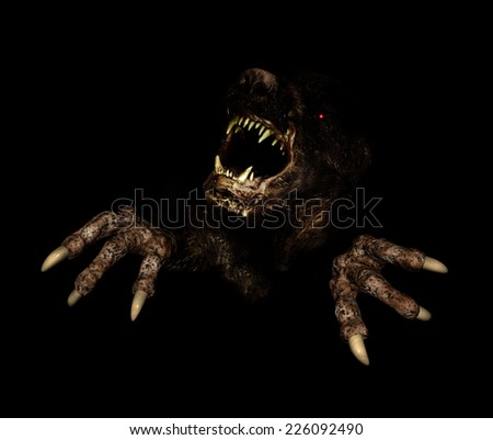 Monster in dark. 3d render - stock photo
