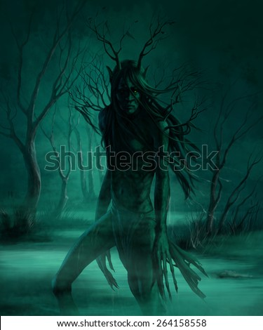 monster in the swamp at night - stock photo