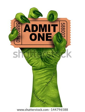 Monster movies with a zombie hand holding a cinema or theater ticket stub as a creepy halloween or scary entertainment symbol with textured green skin and stitches isolated on a white background. - stock photo