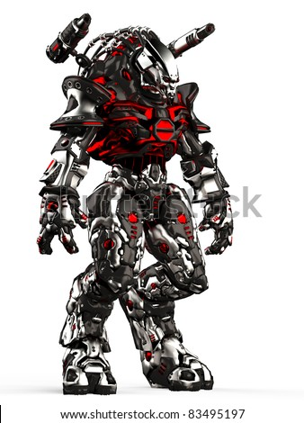 monster robot stand up side view - stock photo