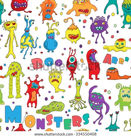 Monster seamless pattern. Hand drawn design for Halloween, Birthday and Baby Shower greeting cards, fabric, wrapping paper, invitation, stationery. - stock photo