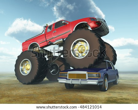 Monster truck driving over a car Computer generated 3D illustration