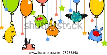 Monsters and balloons (raster version) - stock photo