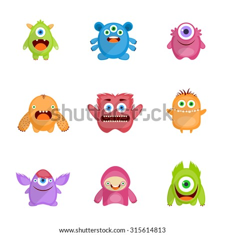Monsters characters set flat with fun cheerful furious scary angry creatures isolated  illustration