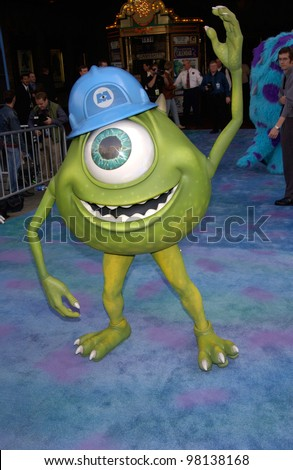 Monsters, Inc character MIKE WAZOWSKI at the world premiere of Disney/Pixar's Monsters, Inc., at the El Capitan Theatre, Hollywood. 28OCT2001.   Paul Smith/Featureflash - stock photo