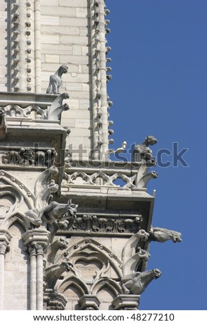 Monsters of Notre Dame, Paris, France - stock photo