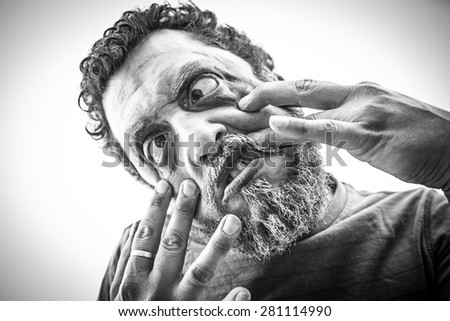 Monstrous and aggressive man in halloween - stock photo