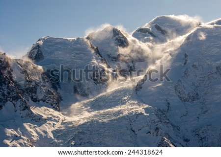 Mont Blanc and others peaks, France - stock photo