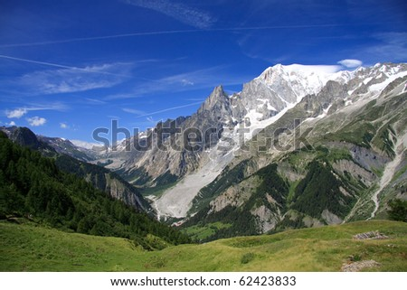 Mont Blanc and the Aiguille Noire - stock photo