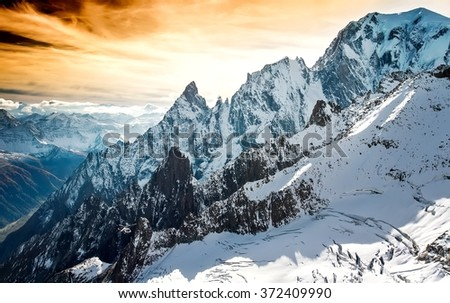 Mont Blanc, Courmayeur, Italy helcopter - stock photo
